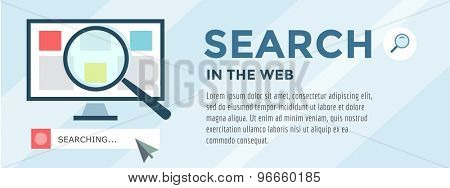 Search Information. Vector objects for infographic. Optimisation, Web, Browser and Computer. Stock illustration design