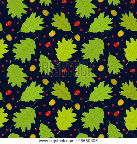 Seamless pattern of Canadian oak's leaves, acorns and rowan berries. Dark blue background.