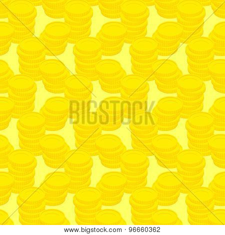 Pile Gold Coins Seamless Pattern, Money. Vector Background