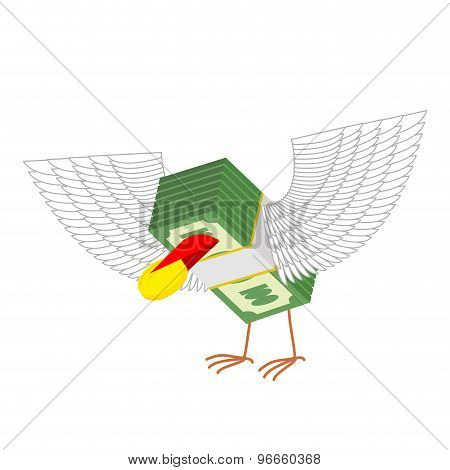 Money With Wings Eats Gold Coins. Vector Illustration
