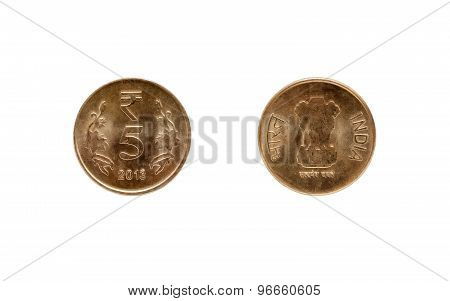 Five Indian Rupee coin