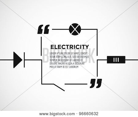 Circuitry quote text bubble. Resostor, chain, note or message, warning and warning, lable, voltage. Vector stock element for design