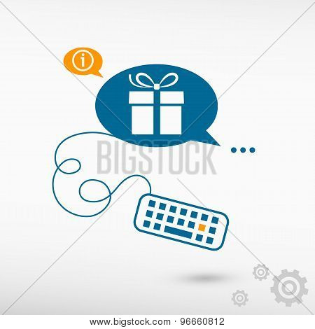 Gift Box And Keyboard On Chat Speech Bubbles