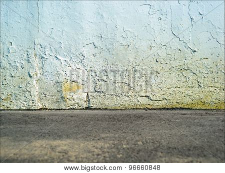 Empty street concrete wall with ground floor