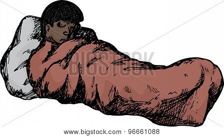 Isolated Person In Sleeping Bag