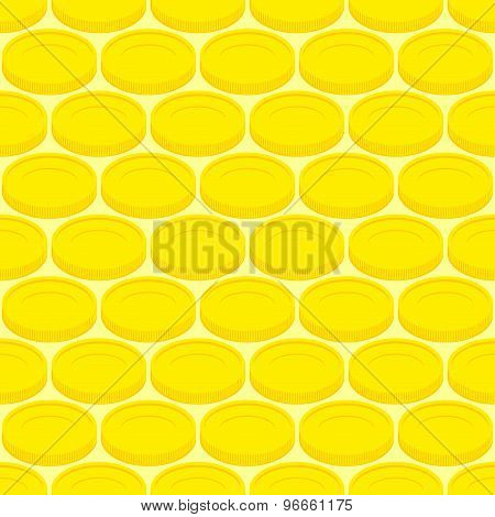 Seamless Pattern Gold Coins, Money. Vector Background Cash