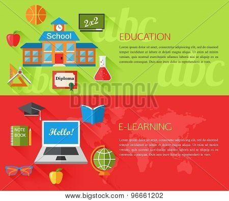 Set of education and e-learning concept banners with place for text. Collection of flat education ic