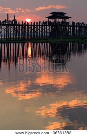 U bein wooden teck bridge at sunset in Amarapura, Myanmar (Burma)