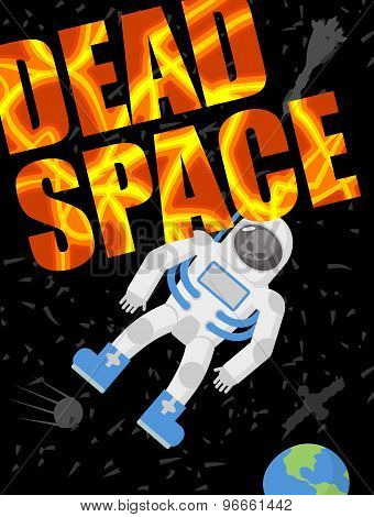 Dead Space. Astronaut Died. Skull In A Spacesuit. Black Universe Of Loneliness. Vector Illustration
