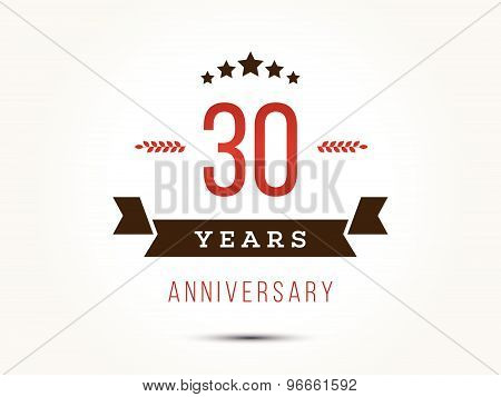 Thirty years anniversary celebration logotype. 30th anniversary logo.
