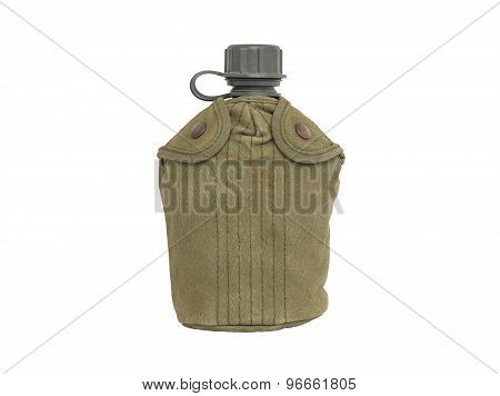 Army water canteen with green cover isolated on a white background