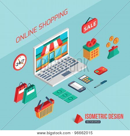 E-commerce and online shopping. Flat 3d isometric design. Infographic concept with place for text.