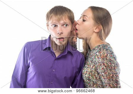 Photo of gossiping woman and man