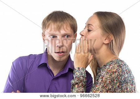 Image of gossiping blond woman and man