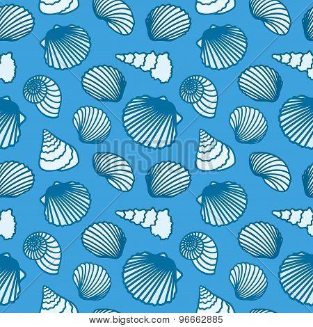 Seashell background. Seamless pattern. Vector illustration.
