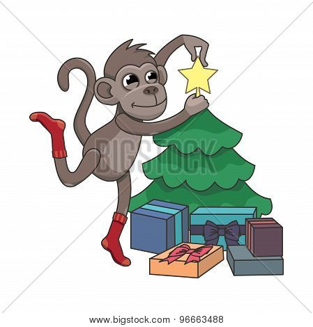 Monkey Decorating A Christmas Tree