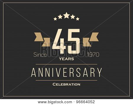 Forty five years anniversary celebration logotype. 45th anniversary logo.