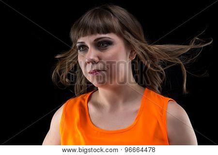 Image woman with flowing hair, looking away