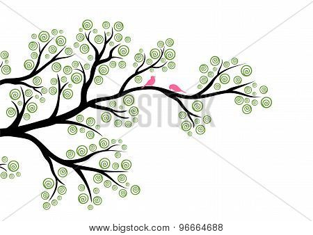 Vector illustration of abstract tree branch on white background