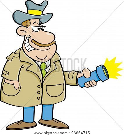 Cartoon detective holding a flashlight.