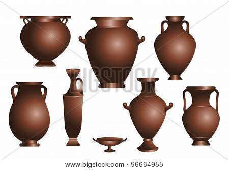 vector set of amphorae