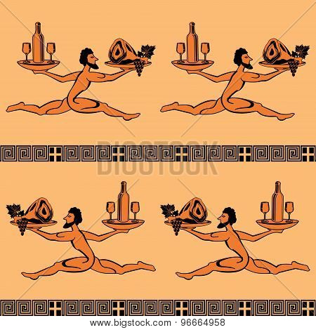 Seamless pattern in the style of Greek painting as a runner with a tray of food