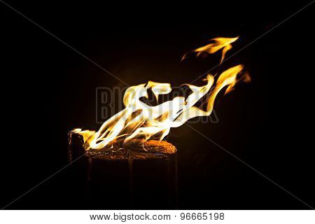Photo of blazing log