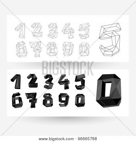 Low poly crystal numbers set, collection, geometric vector typography.