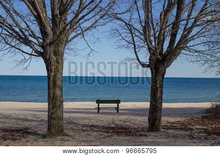 Single Park Bench