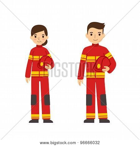 Firefighter Man And Woman
