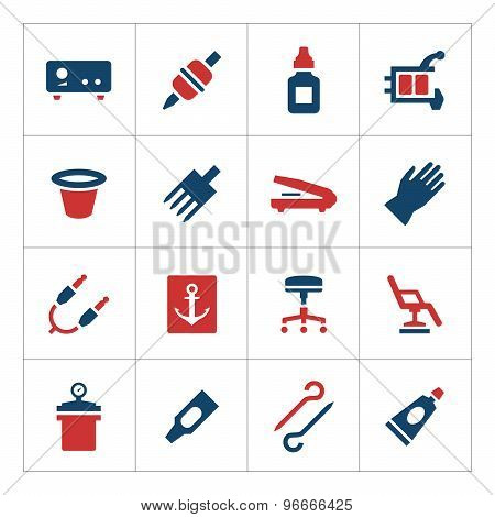 Set Color Icons Of Tattoo Equipment And Accessories