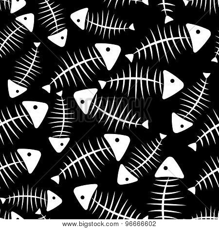 Fish Bone Seamless Pattern Background Vector Illustration