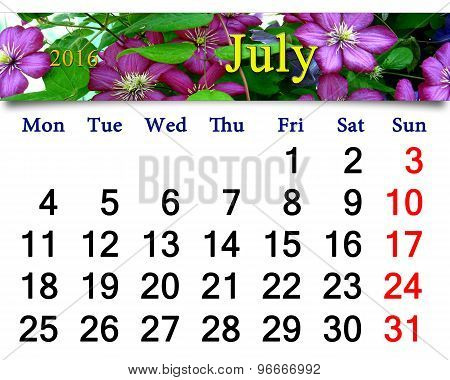 calendar for July 2016 with image of clematis