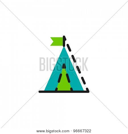 Color line icon for flat design isolated on white. Camping