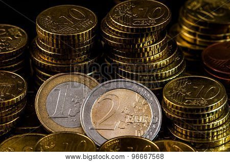 Two Euro Coin Closeup Finance Concept