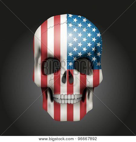 Skull with USA flag
