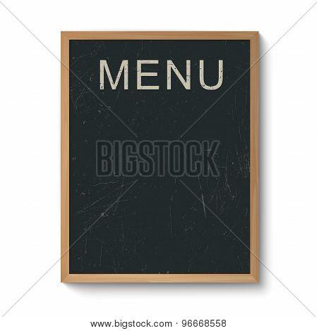 Restaurant menu board in a wooden frame.