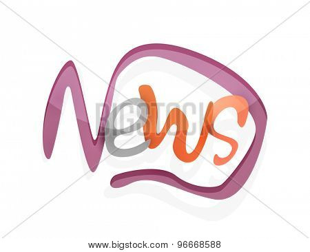 News word, drawn lettering typographic design element. Hand lettering, handmade calligraphy isolated