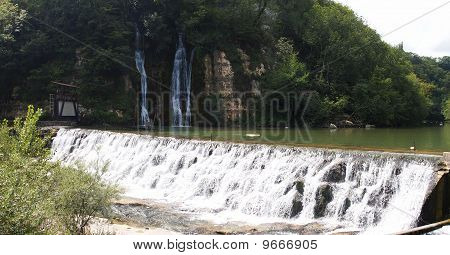 Waterfall From The Famous Place Called Les Pertes De La Valserine, France, The Alps, Panorama