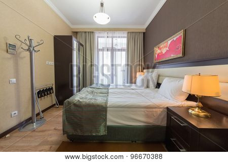 ESTOSADOK, RUSSIA - AUGUST 1,2014: bedroom in appartment in Gorky Gorod Apartments