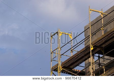 Wall Of Concrete Building. Construction Site Works.