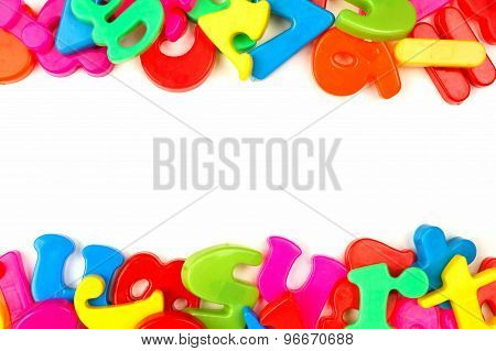 Double border of toy magnetic letters