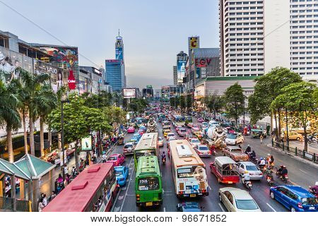 Bangkok Cityscape And Traffic In Sunset