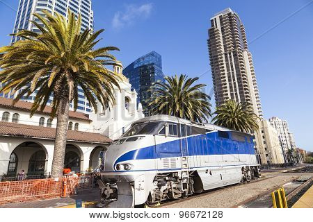 Train Arrives At Union Station In San Diego