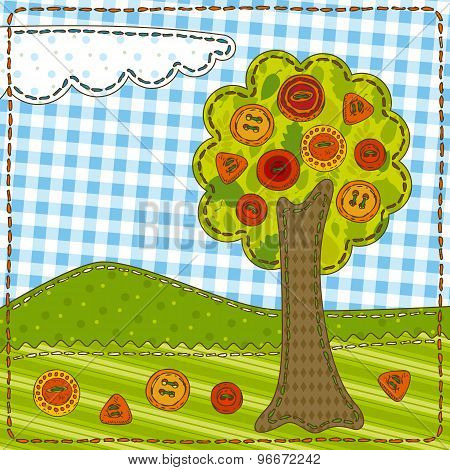 Funny Patchwork with Tree and Buttons