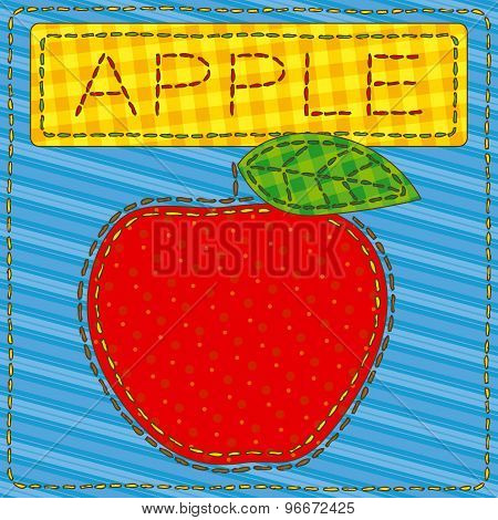 Funny patchwork with a big red apple