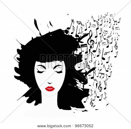 woman face and musical notes