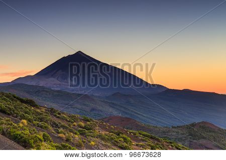 Sunset Over Teide Volcano, Tenerife, Canary Islands, Spain