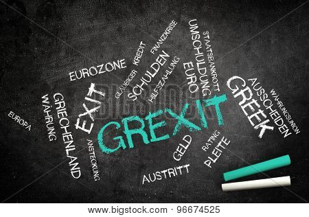 Conceptual Grexit Text, Short for Greek Exit, and Other Related Words Written on Black Chalkboard with Chalks in the Corner.