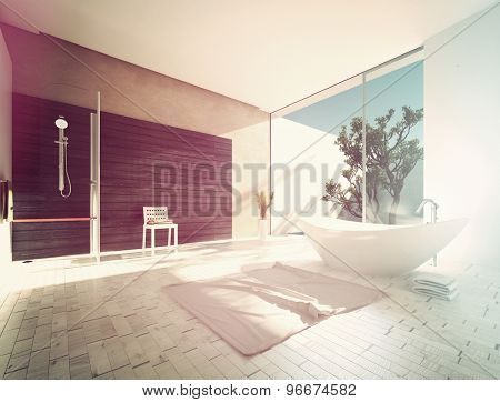 Boat-shaped freestanding tub in a spacious sunny modern bathroom with parquet floors, grey accent wall and shower and a glass door to an outdoor patio. 3d Rendering.